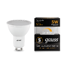 Лампа Gauss LED MR16 GU10-dim 5W 3000K диммируемая