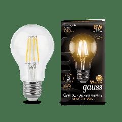 Лампа Gauss LED Filament A60 E27 8W 2700К