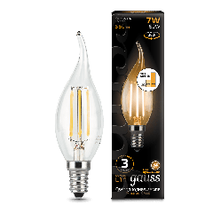 Лампа Gauss LED Filament Candle tailed E14 7W 2700K step dimmable