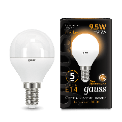 Лампа Gauss LED Globe E14 9.5W 3000K