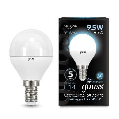 Лампа Gauss LED Globe E14 9.5W 4100K