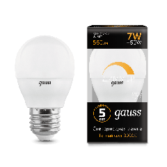 Лампа Gauss LED Globe-dim E27 7W 3000К диммируемая