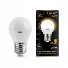 Лампа Gauss LED Globe E27 7W 3000K step dimmable