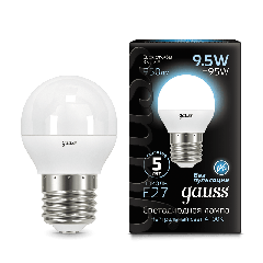 Лампа Gauss LED Globe E27 9.5W 4100K