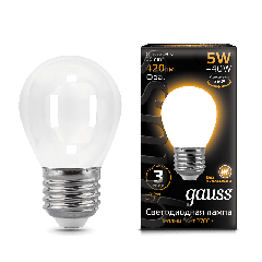 Лампа Gauss LED Filament Globe OPAL E27 5W 2700K