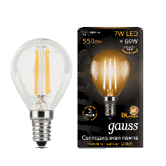 Лампа Gauss LED Filament Globe E14 7W 2700K