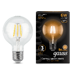 Лампа Gauss LED Filament G95 E27 6W 2700K