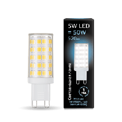 Лампа Gauss LED G9 AC185-265V 5W 4100K керамика