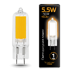 Лампа Gauss LED G4 AC220-240V 5.5W 3000K Glass
