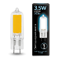 Лампа Gauss LED G4 AC220-240V 3.5W 4100K Glass