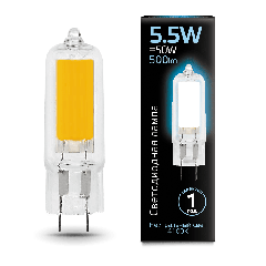 Лампа Gauss LED G4 AC220-240V 5.5W 4100K Glass