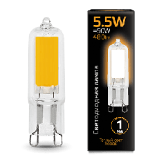 Лампа Gauss LED G9 AC220-240V 5.5W 3000K Glass