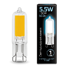 Лампа Gauss LED G9 AC220-240V 5.5W 4100K Glass