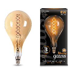 Лампа Gauss LED Vintage Filament Flexible A160 8W E27 160*300mm Golden 2400K