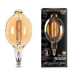 Лампа Gauss LED Vintage Filament BT180 8W E27 180*360mm Golden 2400K