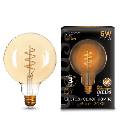 Лампа Gauss LED Filament G125 Flexible E27 6W Golden 2400К