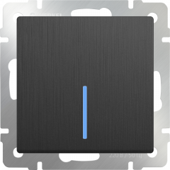 Выключатель одноклавишный проходной с подсветкой (графит рифленый) WL04-SW-1G-2W-LED