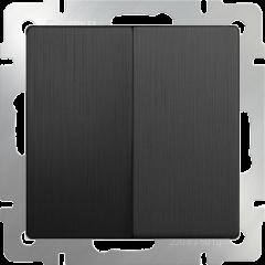 Выключатель  двухклавишный (графит рифленый) WL04-SW-2G