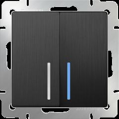 Выключатель двухклавишный с подсветкой (графит рифленый) WL04-SW-2G-LED