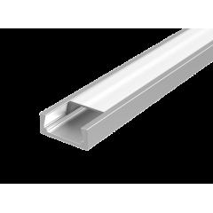 """Алюминиевый профиль """"Вартон"""" для LED ленты с рассеивателем накладной 2000мм посадочное место 10мм"""
