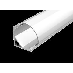 """Алюминиевый профиль """"Вартон"""" для LED ленты с рассеивателем для углового монтажа 2000мм посадочное место 10мм"""