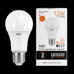 Лампа Gauss LED Elementary A60 12W E27 3000K