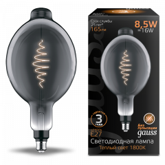 Лампа Gauss LED Filament BT180 GAUSS E27 8.5W Gray 165lm 1800K