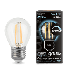 Лампа Gauss LED Filament Globe dimmable E27 5W 4100K