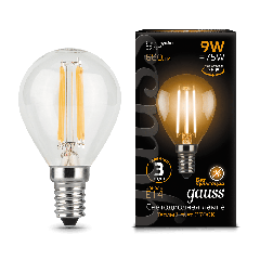 Лампа Gauss LED Filament Globe E14 9W 2700/4100K