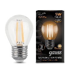 Лампа Gauss LED Filament Globe E27 5W 2700/4100K