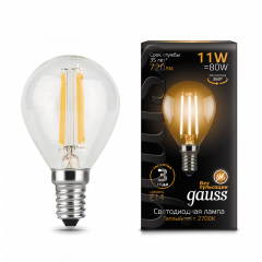 Лампа Gauss LED Filament Шар E14 11W 2700/4100K
