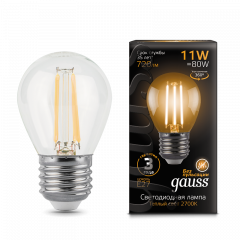 Лампа Gauss LED Filament Шар E27 11W 2700/4100K