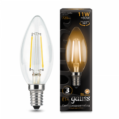 Лампа Gauss LED Filament Свеча E14 11W 720/750lm 2700/4100К