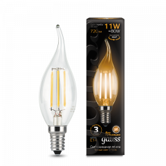 Лампа Gauss LED Filament Свеча на ветру E14 11W 720/750lm 2700/4100К