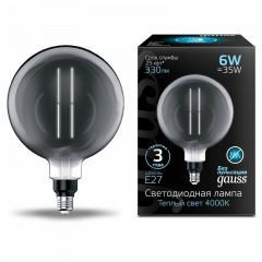 Лампа Gauss LED Vintage Filament Straight G200 6W E27 200*283mm Gray 330lm 4000K