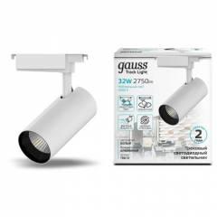 Светильник трековый Gauss цилиндр 32W 2750lm 4000K 180-220V IP20 75x220мм линза 24º LED черный/белый