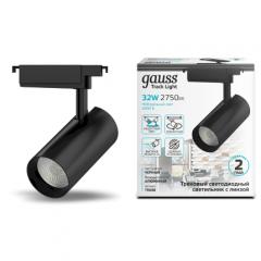 Светильник трековый Gauss цилиндр 32W 2940lm 4000K 180-220V IP20 75x216мм линза 36º LED черный/белый