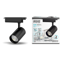 Светильник трековый Gauss цилиндр 42W 3650lm 4000K 180-220V IP20 90x240мм линза 24º LED черный