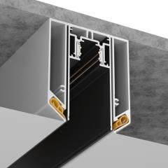 Встраиваемый магнитный шинопровод для натяжного потолка 1-3 м, для треков шириной 25мм черный