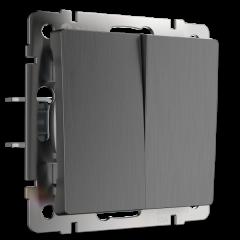 Выключатель двухклавишный проходной (графит рифленый) WL04-SW-2G-2W