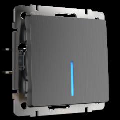 Выключатель одноклавишный с подсветкой (графит рифленый) WL04-SW-1G-LED