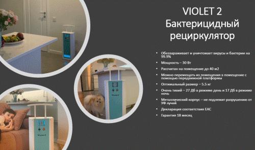 Пример установки рециркулятора violet-2  в помещении